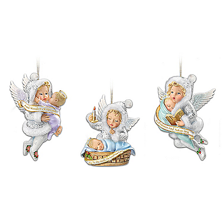 Snow Wonder Angels From Heaven Above Christmas Ornament Collection: Sets Of 3