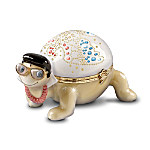 Elvis Presley Heirloom Porcelain Turtle Music Box Collection Li'l Elvis Tribute