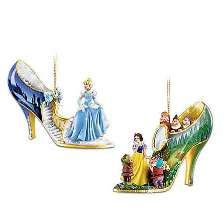 The Disney Once Upon A Slipper Shoe Ornament Collection