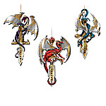Dragon Guardians Of The Crystal Realm On Stylized Swords Ornament Collection