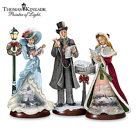 Thomas Kinkade Here We Come A-Caroling Figurine Collection