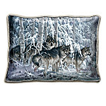 The Winters Majesty Pillow Collection With A Panoramic Scene Of Wolves