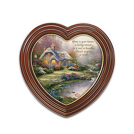 "Home Decor Collectibles Thomas Kinkade ""Home Is Where The Heart Is"" Framed Canvas Print Wall Decor Collection"
