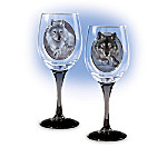 """Celebrating Nature's Majesty"" Wolf Art Glassware Collection"