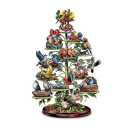 Holiday Tweets Tree Collection: Songbird Figurines With A Musical Tabletop Tree Display