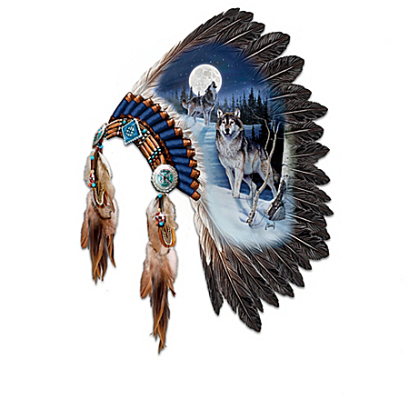 Replica Warrior Headdress With Wolf Art Wall Decor Collection: Sacred Presence