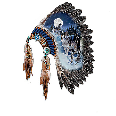 Wolf Art Ceremonial Headdress Wall Decor Collection