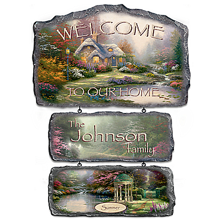 Thomas Kinkade Warm Welcome Personalized Welcome Sign Collection