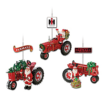 75 Years Of Farmall Red Fully Sculpted Farmall Tractor Christmas Ornament Collection