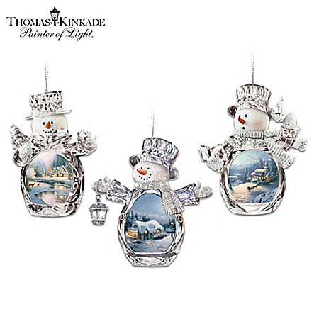 Thomas Kinkade Winter Reflections Snowman Ornament Collection