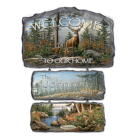 Personalized Seasonal Welcome Sign Plaques with Hautman Brothers Art