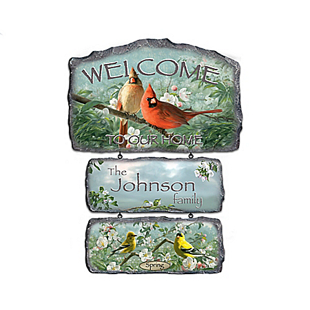 Songbirds Of The Season Personalized Welcome Sign Collection