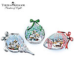 Thomas Kinkade Blown Glass Christmas Sculpture Collection