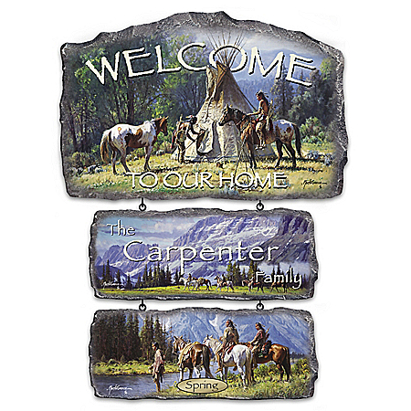 Sacred Seasons Personalized Native American-Inspired Welcome Sign Collection