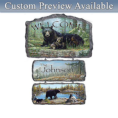 Black Bear Art Personalized Welcome Sign Wall Decor Collection: Seasonal Splendor