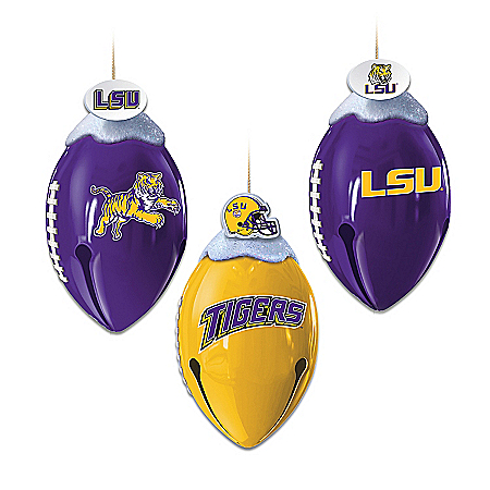 Louisiana State University Tigers FootBells Christmas Ornament Collection