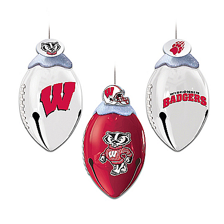 Wisconsin Badgers FootBells Christmas Ornament Collection