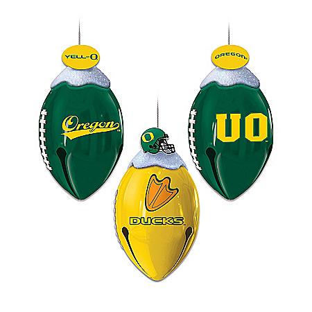 Oregon Ducks FootBells Christmas Ornament Collection