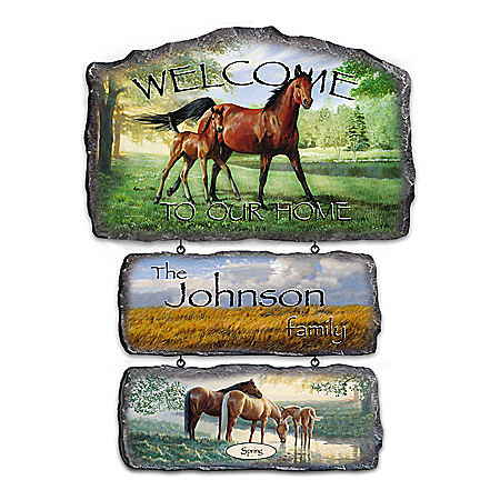 Horse Art Personalized Welcome Sign Collection: Regal Companions