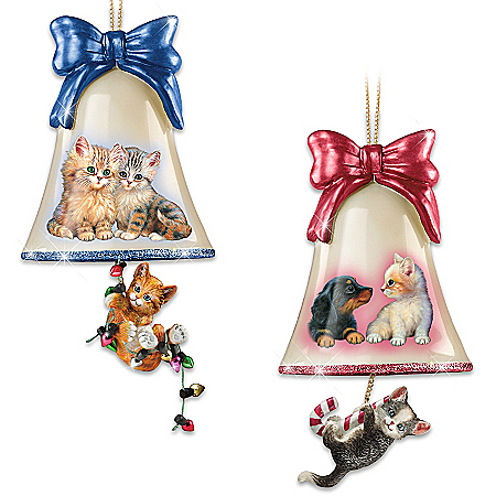 Hand-Painted Purrfect Holiday Glass Bell Ornament Collection