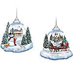 Thomas Kinkade Joy To The World Lighted Holiday Ornament Collection