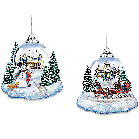 Thomas Kinkade Joy To The World Lighted Holiday Ornament Collection