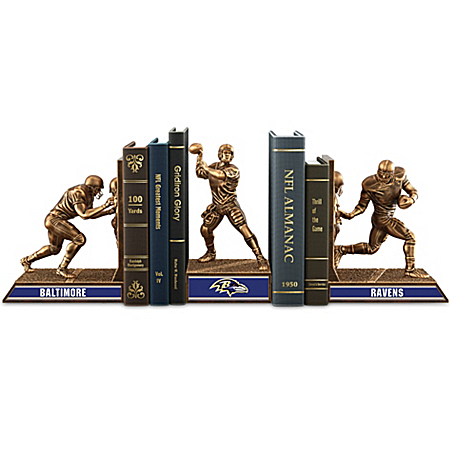 Bookends: Limited Edition Baltimore Ravens Legacy Cold-Cast Bronze Bookends Collection