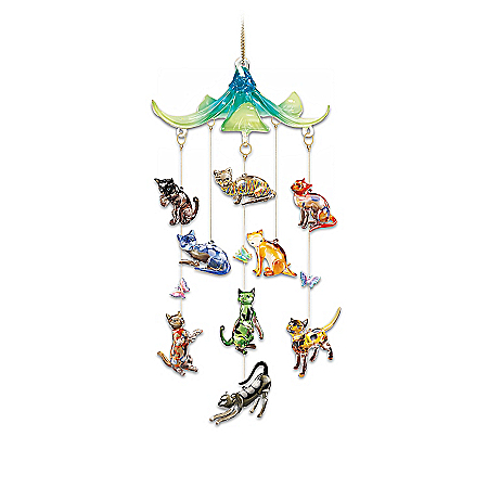 Fabulous Felines Art Glass Hanging Sculpture Collection With Cats And Butterflies
