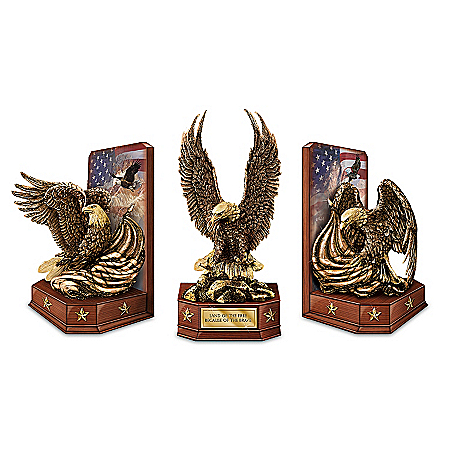 The Free And The Brave Cold-Cast Bronze Eagle Sculpture Bookends Collection