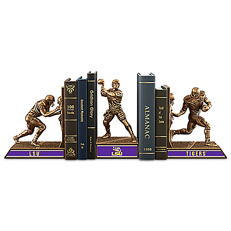 LSU Tigers Football Legacy Cold-Cast Bronze Bookends Collection