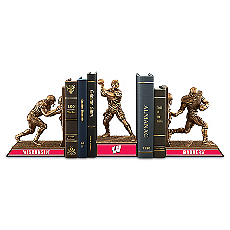 Wisconsin Badgers Football Legacy Cold-Cast Bronze Bookends Collection