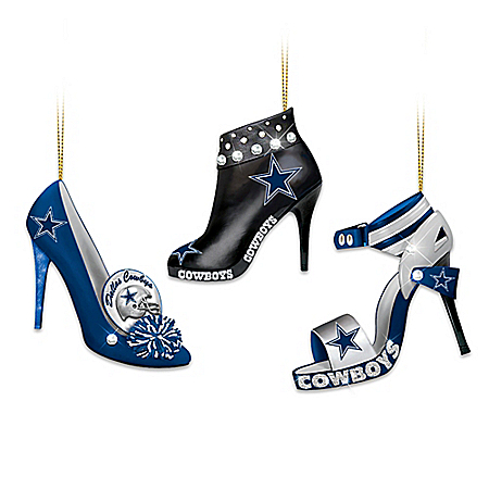 The Bradford Exchange Online - NFL Dallas Cowboys Steppin' Out Stiletto Shoe Ornament Collection Photo