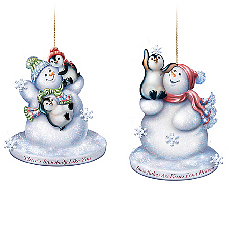 The Warmth Of Christmas Frosted Glass Snowman Lighted Ornament Collection