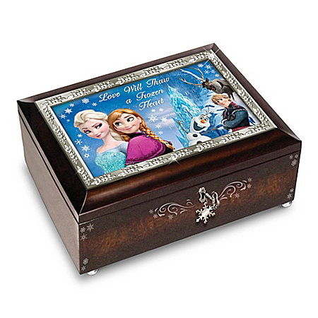 Disney FROZEN Music Box Collection With A Mahogany Finish
