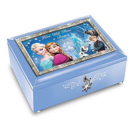 Disney FROZEN Blue Music Box Includes A Decorative Key With Snowflake Charm