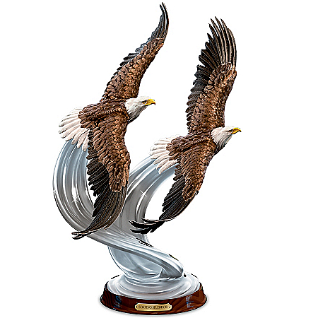 American Bald Eagle Majesty In Flight Hand Painted Lifelike Sculpture Collection