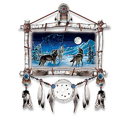 Cynthie Fisher Wolf Art Dreamcatcher Wall Decor: Lights Up and Glows in the Dark
