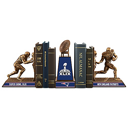 New England Patriots Super Bowl XLIX Champions Cold-Cast Bronze Bookends Collection