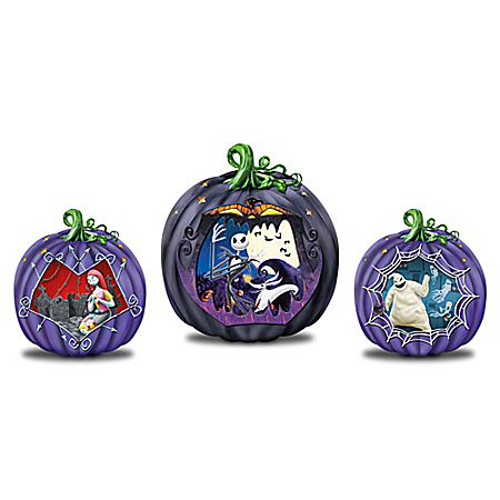The Nightmare Before Christmas Light Up Pumpkin Sculpture Collection