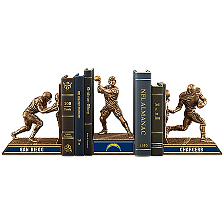 NFL San Diego Chargers Cold-Cast Bronze Legacy Bookends Collection