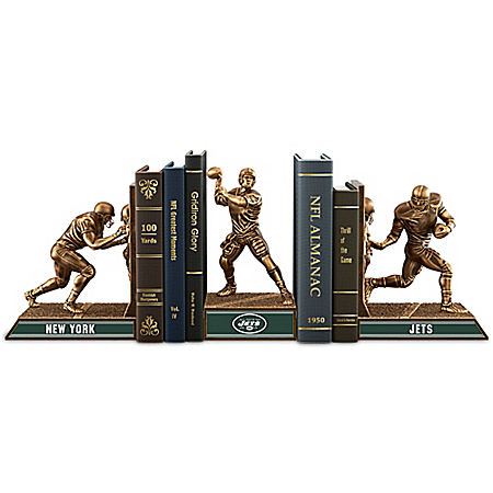 NFL-Licensed New York Jets Cold-Cast Bronze Legacy Bookends Collection
