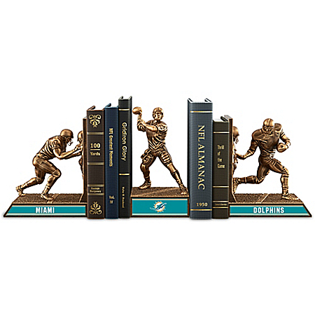 NFL-Licensed Miami Dolphins Cold-Cast Bronze Legacy Bookends Collection