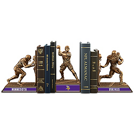 NFL Minnesota Vikings Cold-Cast Bronze Legacy Bookends Collection