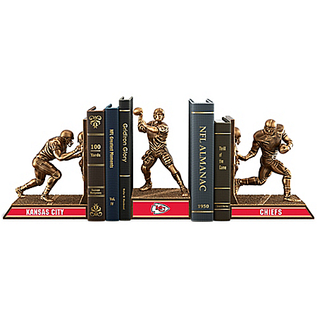 NFL Kansas City Chiefs Cold-Cast Bronze Legacy Bookends Collection