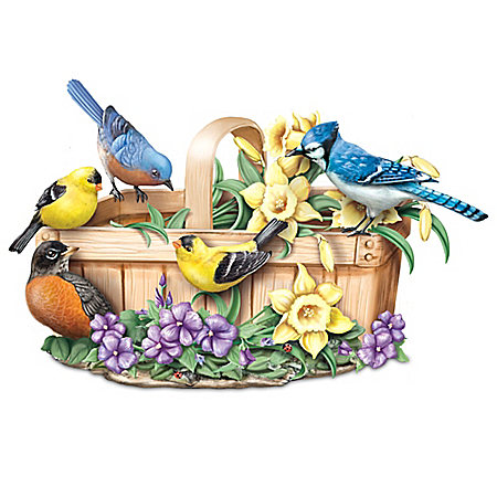 Touch Activated Seasonal Lifelike Singing Songbirds Sculpture Collection