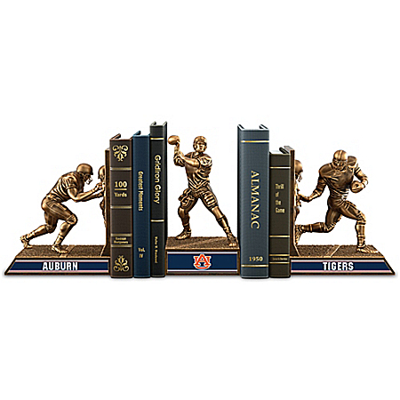 Auburn Tigers Football Cold-Cast Bronze Legacy Bookends Collection