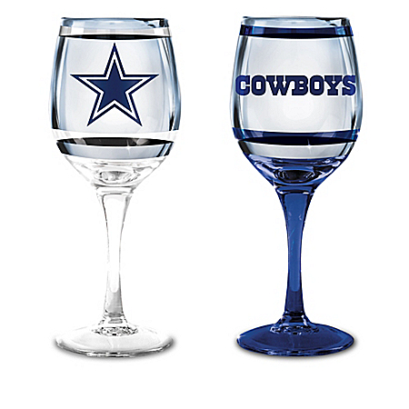 NFL Dallas Cowboys Wine Glass Collection: Set Of Two Stem Wine Glasses