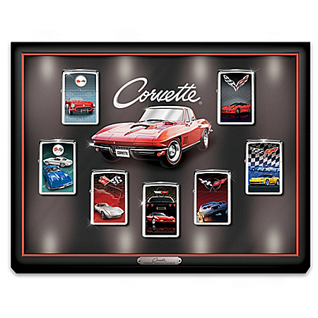 Chevrolet Corvette Art Zippo Windproof Lighter Collection with Custom Display