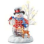 Thomas Kinkade Snow Wonderful Illuminated Snowman Figurine Collection