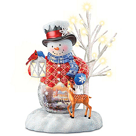 Thomas Kinkade Snow Wonderful Illuminated Snowman Figurine Collection